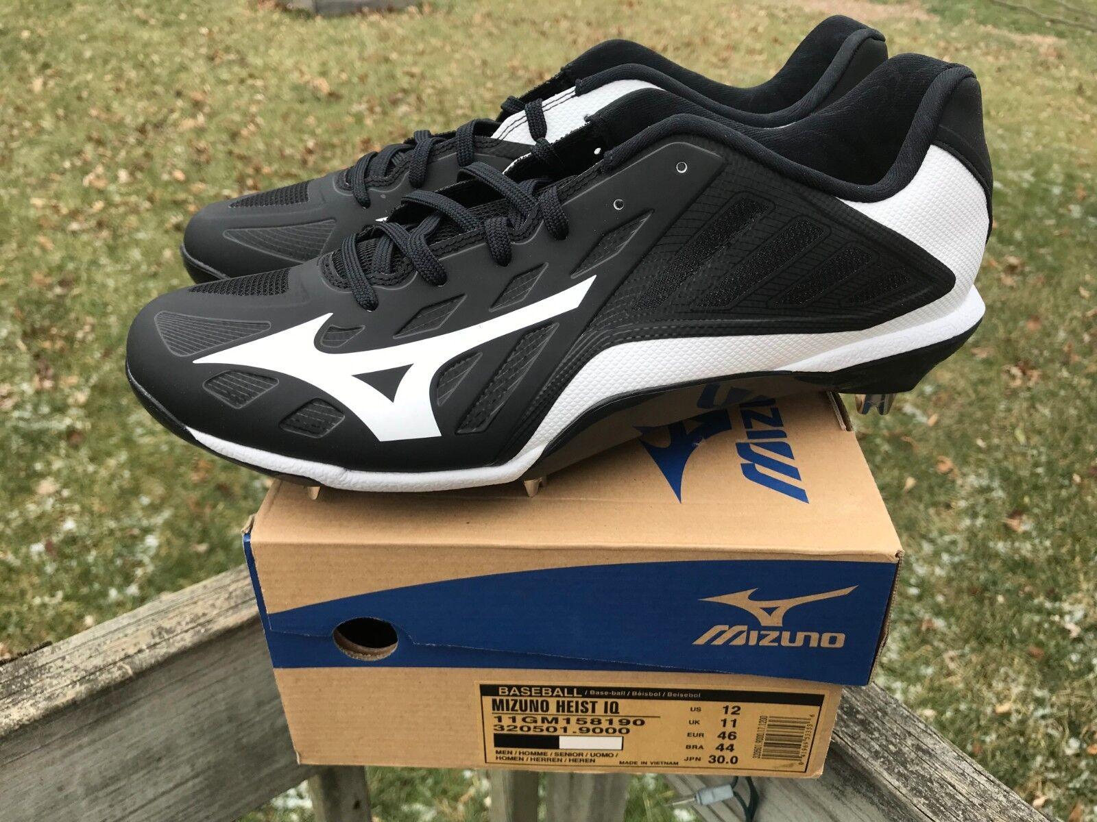online store 853fa acd5b Mizuno Heist IQ Low Mens Baseball Cleats Black-white 12 for sale online   eBay