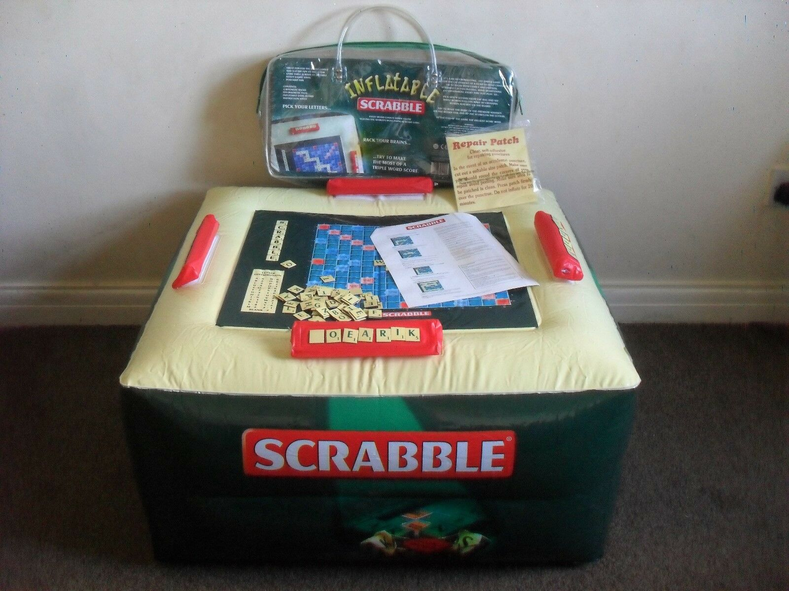 RARE INFLATABLE SCRABBLE BOARD GAME IDEAL FOR TRAVELLING CAMPING HOLIDAYS
