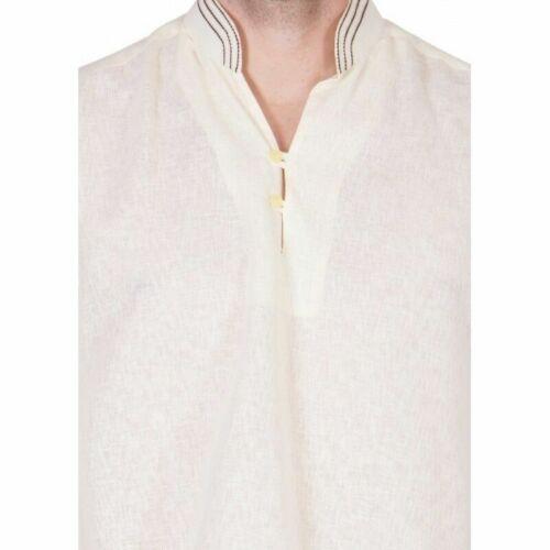 Details about  /Men/'s Pathani Kurta Pajama Ethnic Suit Cotton Fabric Solid Cream