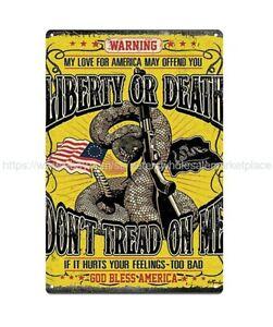 US-SELLER-retro-sign-don-039-t-tread-on-me-liberty-or-death-snake-gun-metal-tin-sign