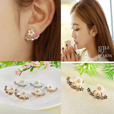 Fashion Flower Gold Earrings Crystal Elegant Ear Stud WOMEN