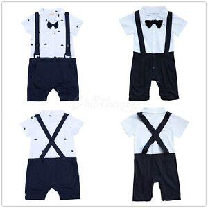 Infant Baby Garçons Gentleman Bowtie Ange Mariage Formel Costume Une Seule Pièce Costume-afficher Le Titre D'origine