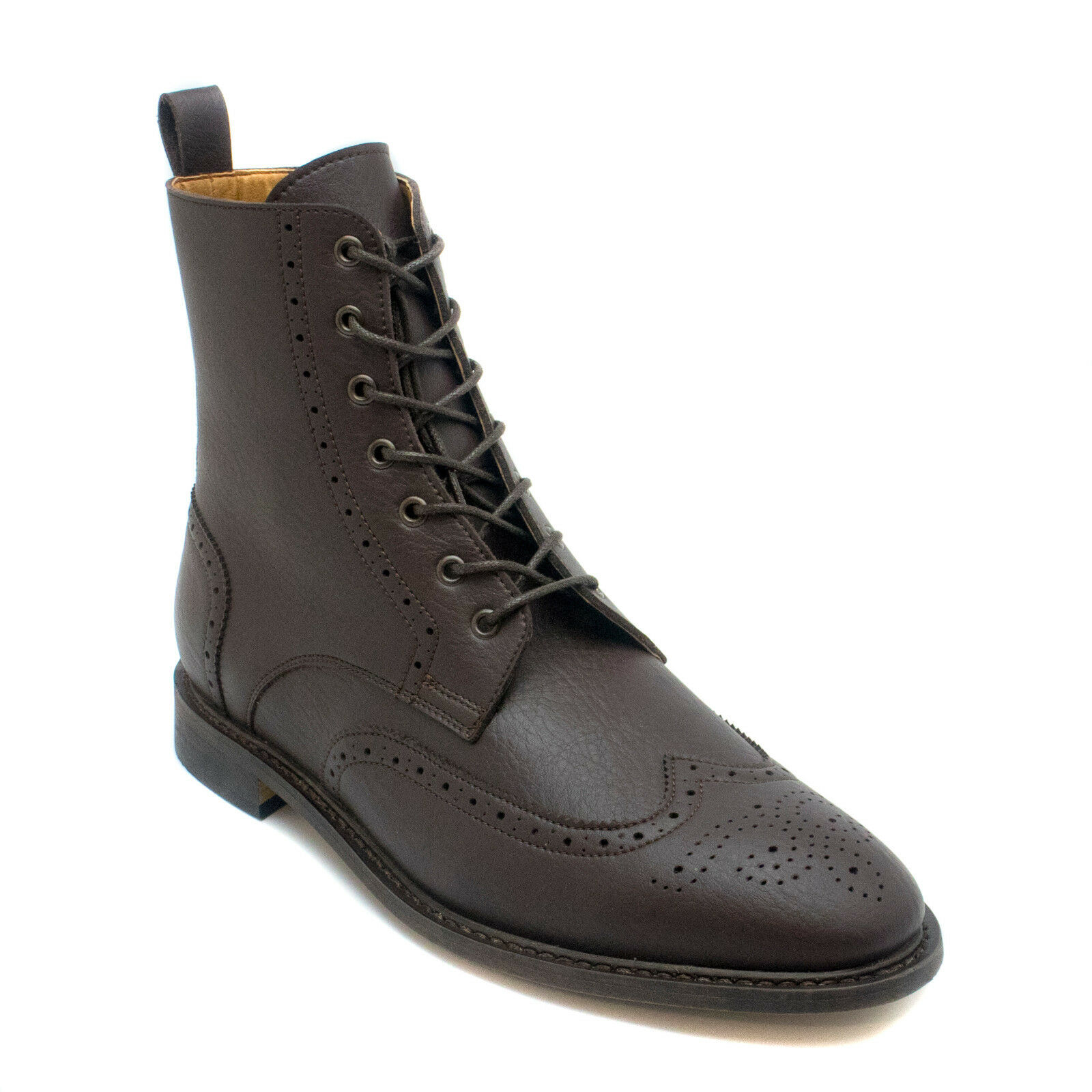 Man vegan brogue wing tip toe boots made with eco microfiber Sewn Goodyear sys