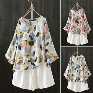 ZANZEA-Women-Bell-Sleeve-Shirt-Tops-Floral-Print-Round-Neck-Loose-Blouse-Plus