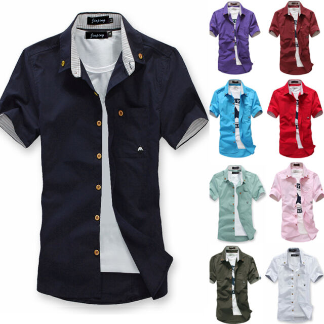 New Korean Men's Short Sleeve Slim Fit Tops Handsome Casual T-shirt 5 Size