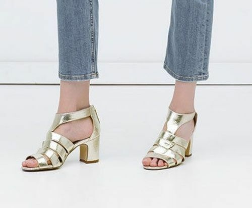 ZARA BLOCK HEEL CAGE Gold CHAMPAGNE METALLIC SANDALS EUR 36, US 6, UK 3