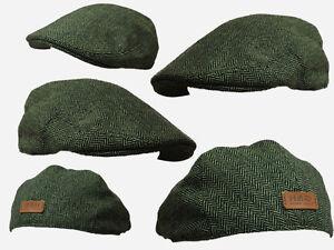 Image is loading Green-herringbone-flat-CAP-CLOTH-GOLF-FLAT-CAP- 3c6873d2de2