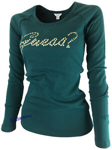 Girocollo Green Pullover Guess Motif Mountain Feinstrick S Pulli l m Mit Ladies FwgSqE