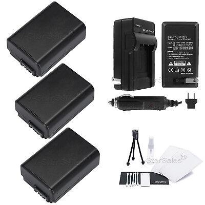3x Np-fw50 Battery + Charger For Sony Nex-5 Nex-5n Nex-c3 Nex-c5 Nex-7
