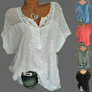 Womens-Batwing-Short-Sleeve-Lace-Hollow-Baggy-Casual-T-Shirt-Tops-Blouse