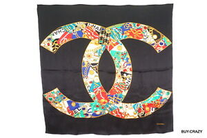 CHANEL-Vintage-large-format-scarf-100-silk-Coco-mark-Jewelery-Stole-Black-2229k