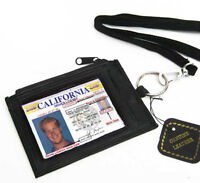 Black Leather THIN ID CARD Holder Neck Travel Pouch Wallet Zip Key Ring Strap