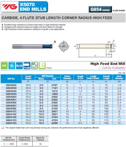 5mm Long 4FL 1mm Radius YG1 X5070 Blue HiFeed End Mill for HRc70 Hardened Steels