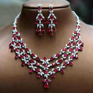 Silver Palace Fine Ruby Cz Gold Look Necklace Earrings With 92.5 Sterling Silver Large Assortment Engagement & Wedding