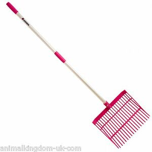 Faulks-Shavings-Bedding-Fork-Polycarbonate-Head-With-48-034-Handle-in-Pink