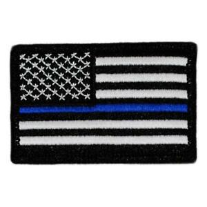 """American Flag Patch Thin Blue Line tactical 3/""""x2/"""" Inch Hook and Loop backing"""
