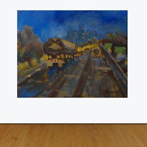 Mid-Century-Modern-Pittsburgh-Night-Urban-Realism-Original-Oil-Painting-Signed