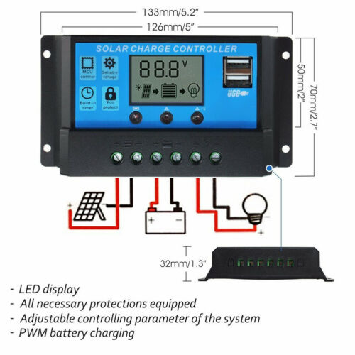 LCD Solar Panel Battery Regulator Charge Controller Dual USB 10//20//30A 12V//24V S