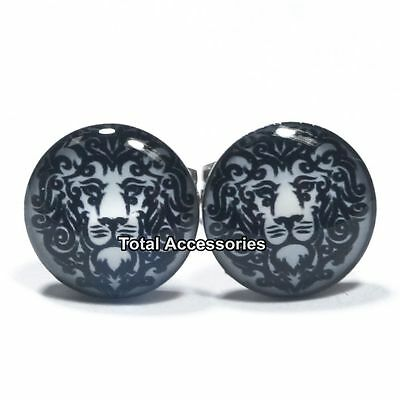 Lion Outline Stainless Steel Stud Earrings - Mens Womens Fashion - New