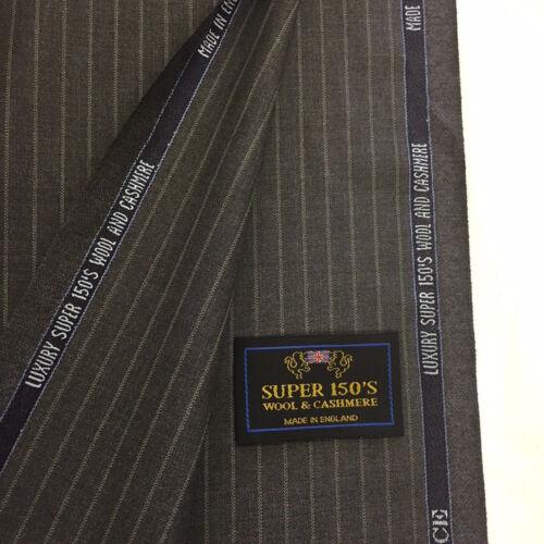 260//280g Charles Clayton Gris medio con rayas Super 150/'s /& Cashmere Traje De Tela.