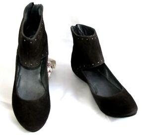BOCAGE Ballerine calzamaglia in pelle velour grigio marrone taglia 42 NUOVO