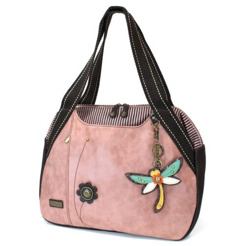 Dusty Rose Chala Blowing Tote HandBags with Animal Leather Key Fob