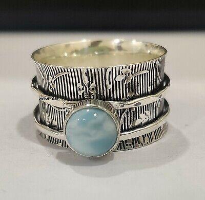 Larimar Stone Solid 925 Sterling Silver Spinner Meditation Ring Handmade kd9257