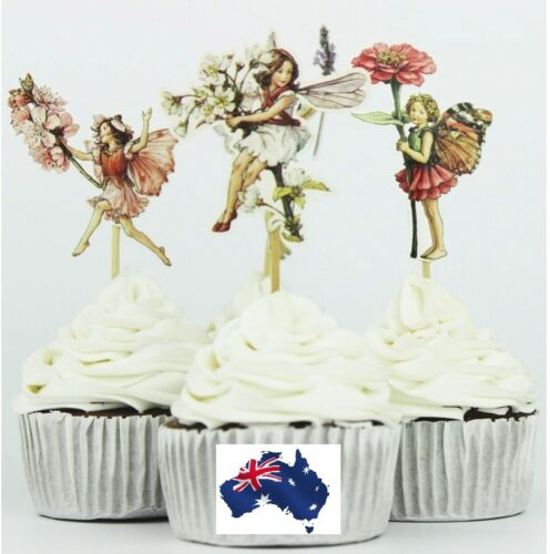 12 x Garden Flower Blossoms Fairy CUPCAKE CAKE TOPPER CUTE birthday party decor