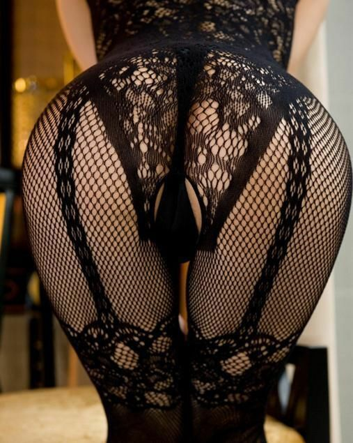 SEXY BLACK FISHNET LACE CROTCHLESS BODYSTOCKING LINGERIE CATSUIT PLUS SIZE 16-20
