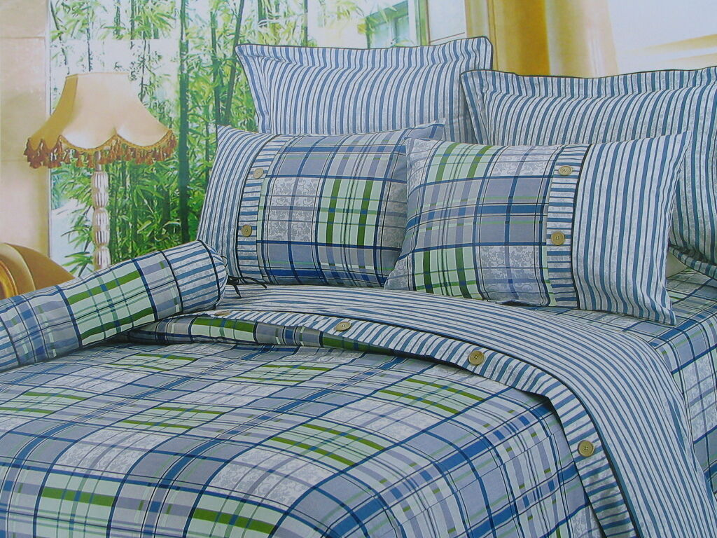 Cotton Queen Size bluee&Green Plaid Comforter Cover Bedding Set 7PC