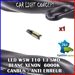 1-x-ampoule-Veilleuse-LED-W5W-T10-13-SMD-BLANC-XENON-6000k-voiture-auto-moto