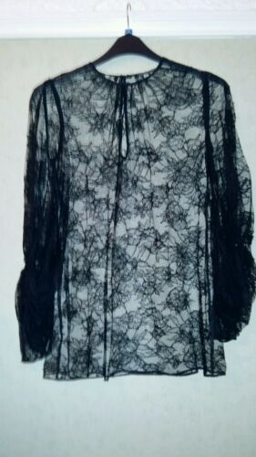 Uk Sheer Top Lace 6 Black Alexander Blouse Mcqueen Size 8 qT64nY