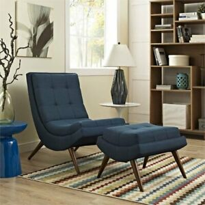 Swell Details About Modway Ramp Fabric Lounge Chair And Ottoman In Azure Unemploymentrelief Wooden Chair Designs For Living Room Unemploymentrelieforg