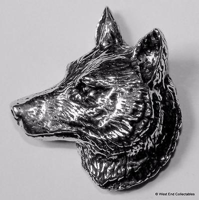 Wolf Head Pewter Pin Brooch -British Artisan Made- Husky Gray Timber Dog A66