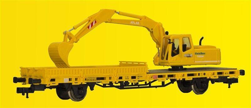 Kibri 26250 Escala H0,Vagón Plataforma Baja Atlas Excavadora Construcción