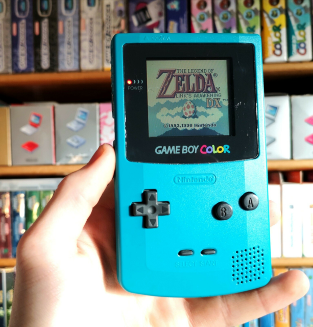 Gameboy color, spillekonsol, God, Blå Teal Turkis Nintendo…