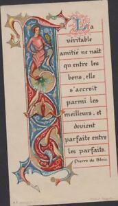 BELLE IMAGE PIEUSE HOLY CARD SANTINI rehaussée de doré-La véritable amitié .... baRO5g1C-09160655-781135538