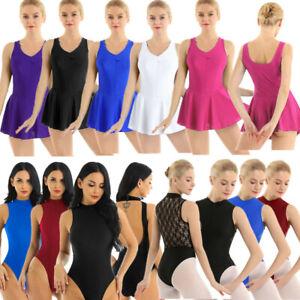 Adult-Women-039-s-Sleeveless-Lace-Ballet-Dance-wear-Leotard-Dress-Gymnastics-Costume