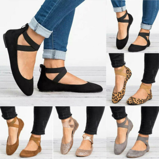 Womens Ankle Strap Ballerina Flats Ballet Pumps Suede Summer Casual Comfy Shoes