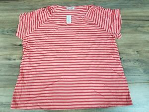 new lifestyle brand new high quality Details about Dress Barn Red Pink Striped Top Size: 3XL. NEW!