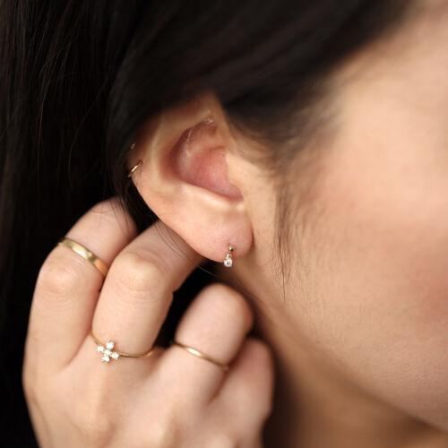 14K Solid Gold Beads Diamond Charm Earring Dainty Diamond Dangle Earrings