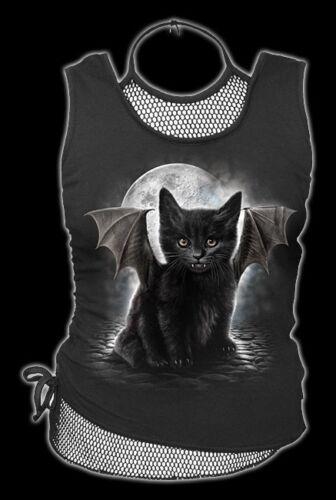 2in1 Réseau Top Avec Chauve-Souris-Chat-Bat cat-Spiral gtohic Femmes Shirt Mode