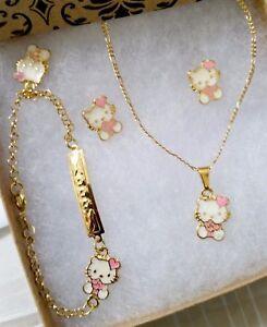 0037712da 18k Gold filled Pink enamel Hello Kitty Heart 4pc Necklace jewelry ...