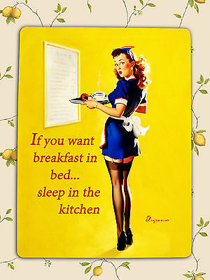 Retro Vintage Shabby Chic Pin Up humour Kitchen decorative Plaque Metal Sign