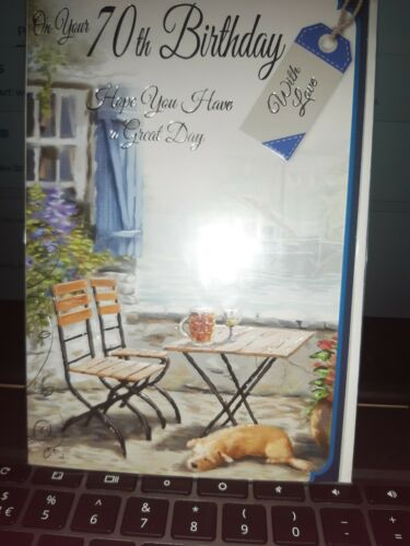 SMART MALE HAPPY 70TH BIRTHDAY CARD WITH WHITE ENVELOPE U.K SELLER