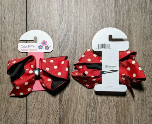 "12 Boutique Girls Kids 4/"" Grosgrain Ribbon Hair Bows Alligator Clip Polkadot 006"