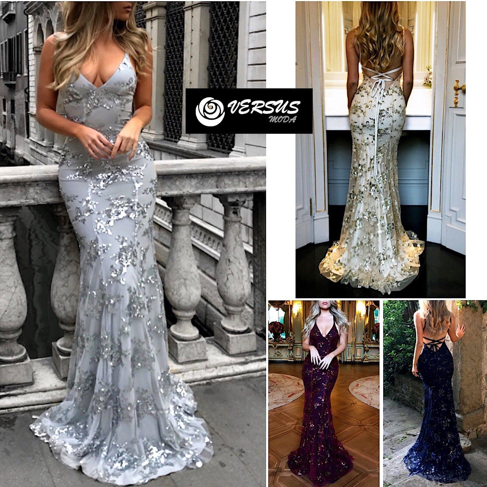 9dcc9c344ba6 Vestito Lungo Donna Donna Donna Cerimonia Pailettes Donna Party Sequins Maxi  Dress 110396 0fcaf5