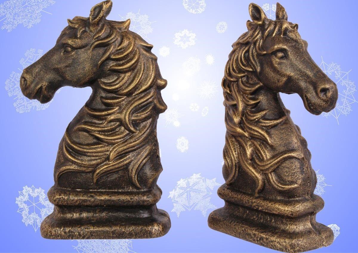 Buchstützen Set Bücherständer Pferde Köpfe Eisen Vintage Welt der Tiere Deko