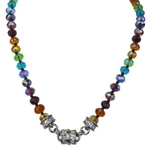 Kirks-Folly-Rainbow-Memories-Beaded-Magnetic-Interchangeable-Necklace-Silvertone