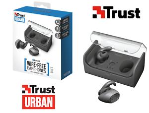 AURICOLARI-TRUST-DUET-BLUETOOTH-WIRELESS-con-base-ricaricabile-cuffie-stereo